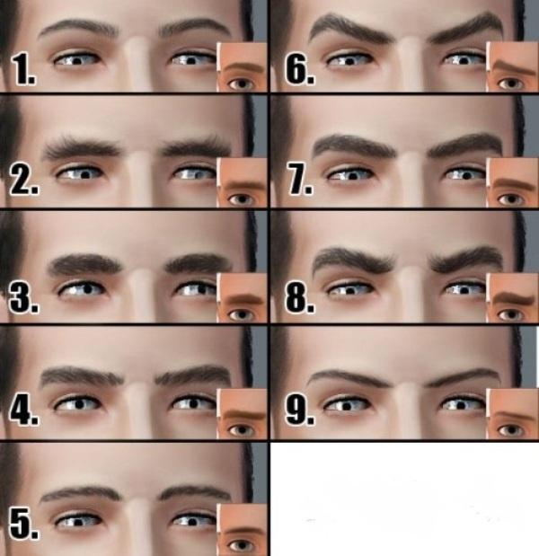 Разнообразие форм мужских бровей