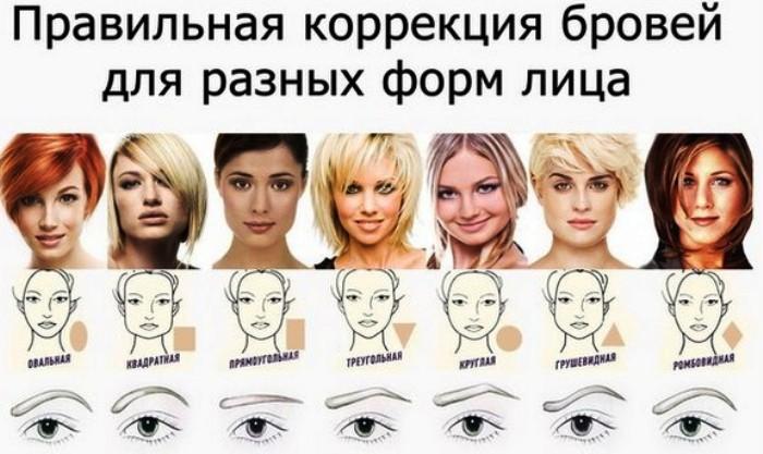 Формы бровей по типу лица